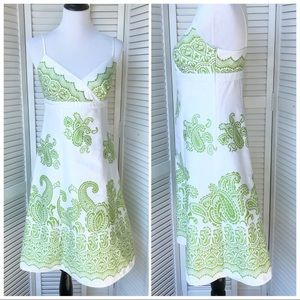 EUC Ann Taylor lime green and white fit&flare sz4